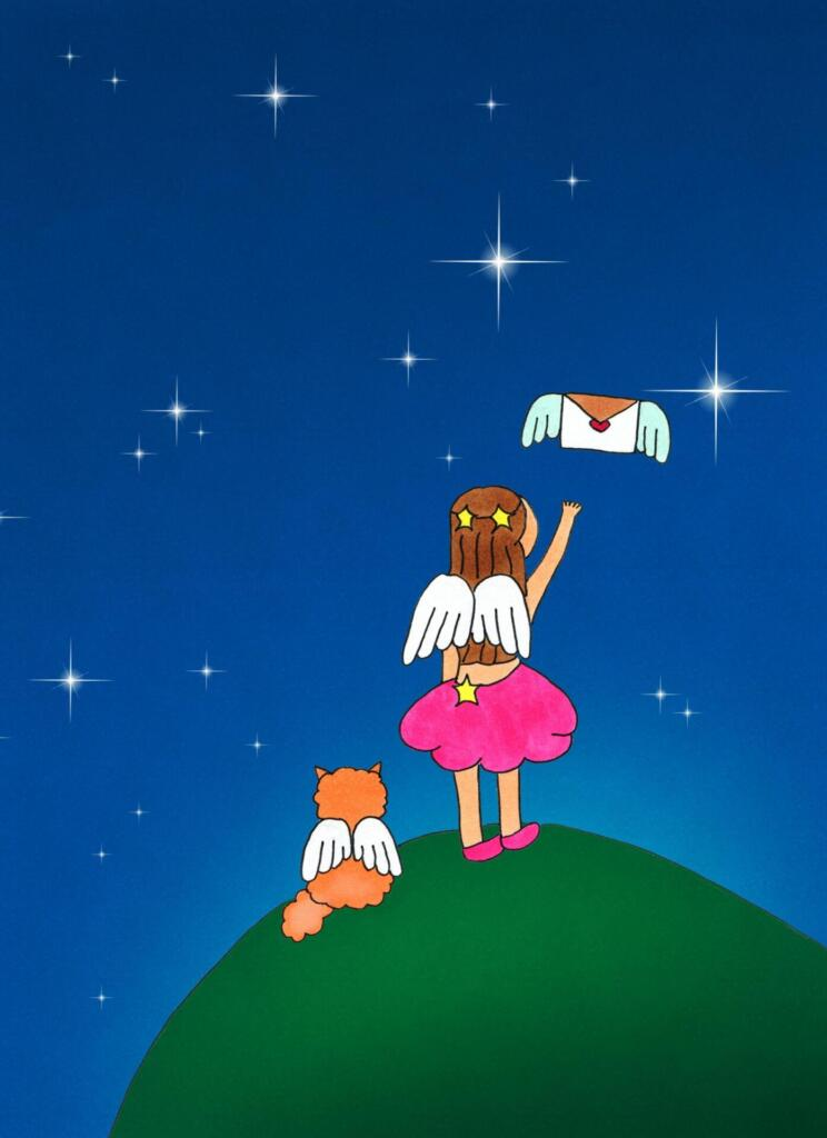 Prayers soar - Girl angel sending letter into night sky