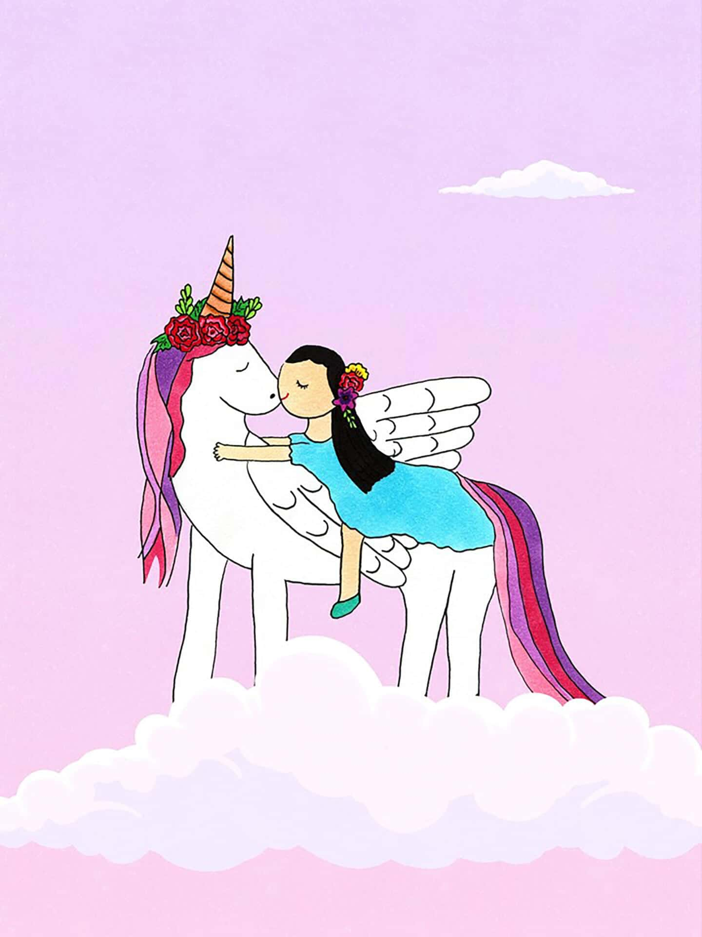 Birthday Unicorn Kiss eCard